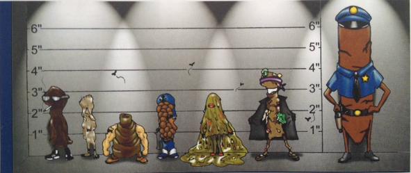 De derecha a izquierda (el policía, el exhibicionista, diarrhella, munición, el culturista, el nadador olímpico, Mr. Apestoso)